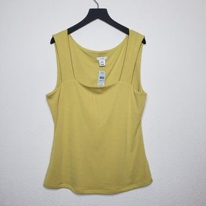 NEW Caché Yellow Square Neck Career Tank Top
